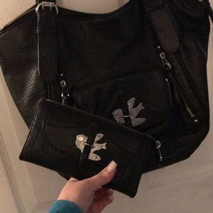 Marc Jacobs Leather Shoulder Bag w Matching Wallet
